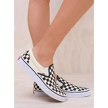 VANS Classic Slip On Black White Checkerboard Sneaker Flats Canvas Shoe I