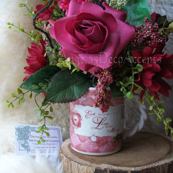 Silk Floral Arrangement, Vintage Style Love Mug, Any Occasion Sweetheart, Burgundy Rose Pinks, Romantic Chic, Faux Flowers, Year Round Chic