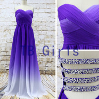 Hot Sale Purple Gradient Color Bridesmaid Dress, Sweetheart Long Prom Dress Chiffon, Pleats Bead Evening Dress, Wedding Party Prom Dress