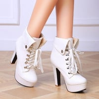 Womens Fashion Platform Chunky High Heels Lace Up Leather Ankle Boots