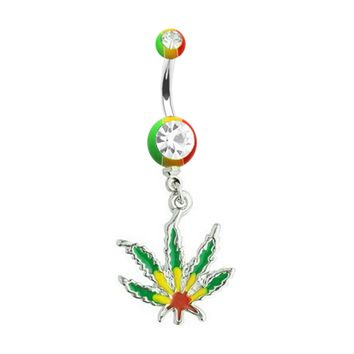 BodyJ4You Belly Ring Jamaican Pot Leaf Dangle Double Gem Piercing Jewelry 14G