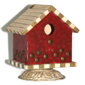 Painted Birdhouse - Recycled Materials - Hand Painted - Upcycled - Gift for Gardener - Gift
