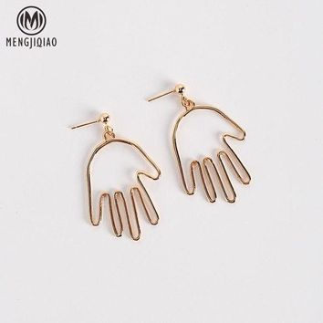 ac spbest 2017 Korean Funny Ear Accessories Personality Earrings For Women Attractive Alloy Hand Face Shaped Pendientes Drop Earrings