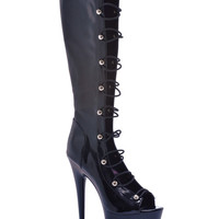 "Ellie Shoes Tyra 6"" Knee High Boot W-zipper Black Six"