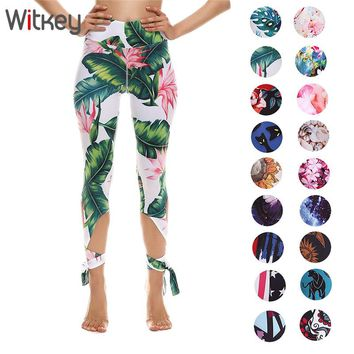 Witkey Fitness Sport Leggings Women High Waist Bandage Yoga Leggings Tights Quick Dry Running Pants Women Fitness Sport Pants