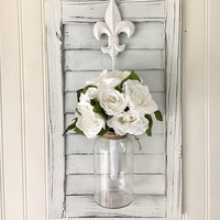 Farmhouse wall decor - floral wall hanging - french country decor - fleur de lis decor - hanging vase wall decor - wood wall sconce