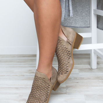 Griffin Cut Out Booties - Taupe