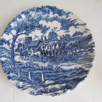 Horse and Stagecoach Plate Blue and White Plate Myott Royal Mail Staffordshire Ware Plate Blue Plate Blue and White Decor English Blue China