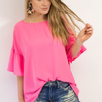 Vacation Mode Bell Sleeve Top- Pink