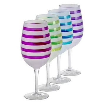 Colorful Striped Frosted Wine Glasses