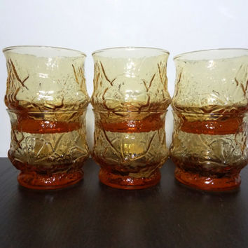 "Vintage Libbey Drinking Glasses Amber Color ""Country Garden"" Raised Daisy Pattern - Set of 6"