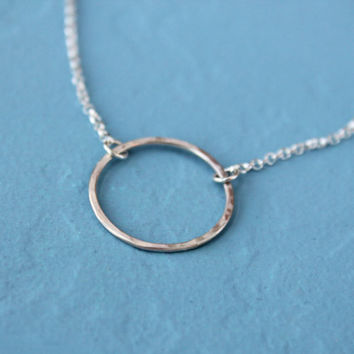 Sterling silver eternity circle necklace - open circle - karma necklace - handmade