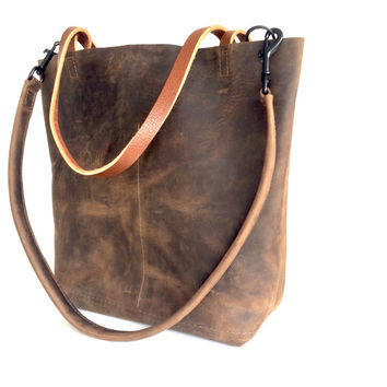 Dark Brown Leather Tote Bag - Marbleized Brown Leather Travel Bag - distressed dark brown Leather Market bag