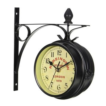 Vintage Decorative Double Sided Metal Wall Clock Antique Style Station Wall Clock Wall Hanging Clock Black