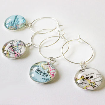 Wine Glass Markers - 8 Silver Custom Map Charms