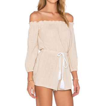 e0d7939d78e Toby Heart Ginger Sailing Off The Shoulder Romper in Beige