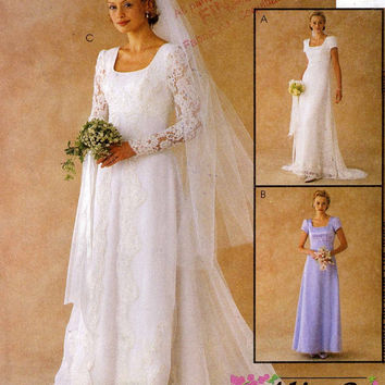 Romantic wedding gown and bridesmaid dress wedding dress sewing pattern McCalls 2028 Alicyn Size 14 to 18