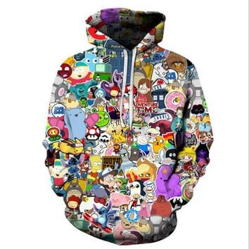 Harajuku Anime Cartoon Hoodies Adventure Time/Totoro/ Kawaii Clothes 3D Hooded Sweatshirt Sudaderas Mujer 2018Kawaii Pokemon go  AT_89_9