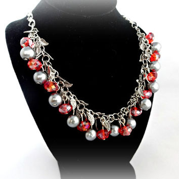 Valentines Day Jewelry , Red and Silver Necklace,