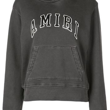 Ladies Dark Grey Logo Patch Hoodie by Amiri
