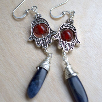 Hamsa Hand Earrings, Red Agate, Sodalite Earrings, Boho Fashion, Fatima Hand, Hippie Bohemian Earrings, Dangle Earrings, Red and Blue