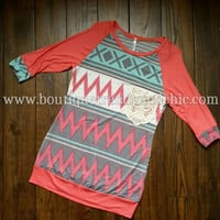 AZTEC CHEVRON PRINT KNIT TOP