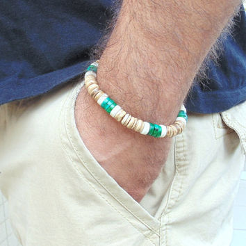 Men's  surfer bracelet, men's wood bracelet,  bracelet for men,  chrysocolla bead, jewelry for men, trendy  bracelete, gift for man, green