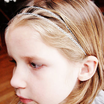 Boho style headband, baby headband, halo crown headband, infant headband, teen headband, braid headband, girls headband, silver headband