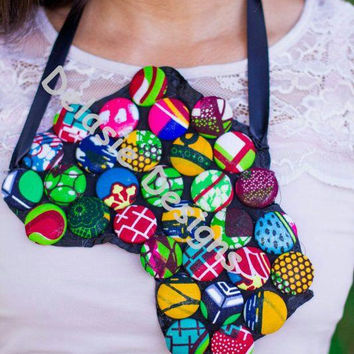 Abstract Africa Outline Ankara  Bib Button Statement Necklace