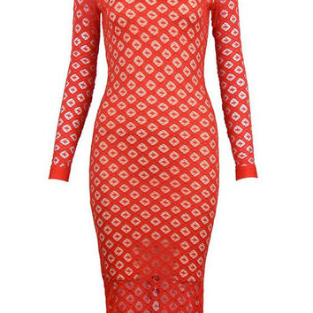Lace And Bandage Midi Dress