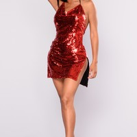 Meteor Shower Sequin Dress - Red
