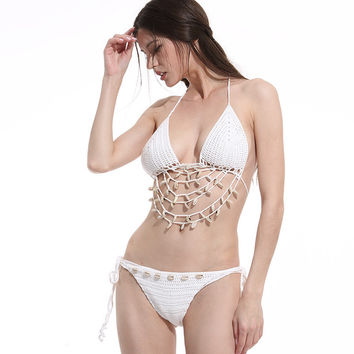 Women White Knitting Women Seashells Bikini set 2017 Bandage Crochet Swimwear Shell Swimsuit Knit Swimsuits Biquini Bathing suit -0401
