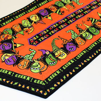 Halloween Witches Quilted Table Runner - Orange and Black with Bright Funny Witches, Quilted Halloween Party Table Decor