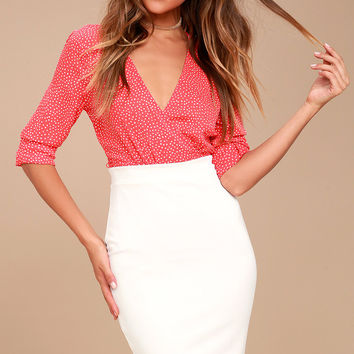 Pencil It In White Bodycon Pencil Skirt