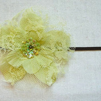 Green Fabric Flower Headband with Sequin Center by djcjlw on Etsy