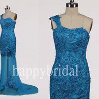 Long One Shoulder Ice Blue Lace Prom Dresees Formal Party Evening Dresses 2014 New Fashion