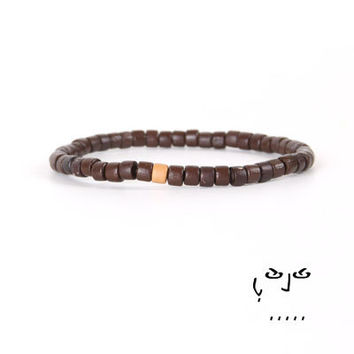 VujuWear Brown Wood Men's Beaded Stretch Bracelet