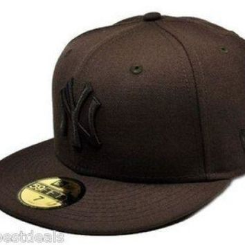 ICIK4S2 NEW ERA Hat Baseball 59Fifty New York Yankees Fitted Brown Mens Cap