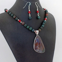 Bloodstone Coral Pendant Necklace Earring Set Natural Stone