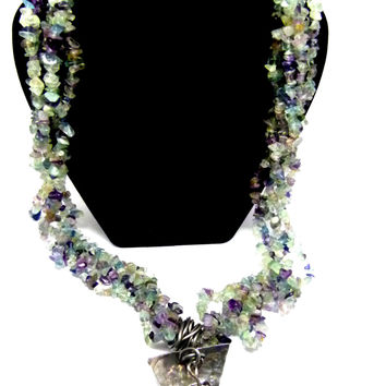 Extra long and chunky flourite gemstone necklace, big bold statement necklace , large jewelry