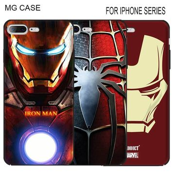 Popular Iron Man Marvel Phone Case For Iphone Apple 5 5C 5S SE 6 6S 6Splus Spider-Man Phone Shell Cover For Iphone 7 8 plus X