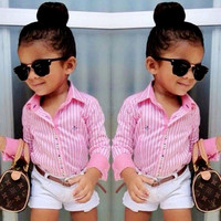 Clothing Set Summer Stripe Shirt + Shorts For Girls 3-11 Years