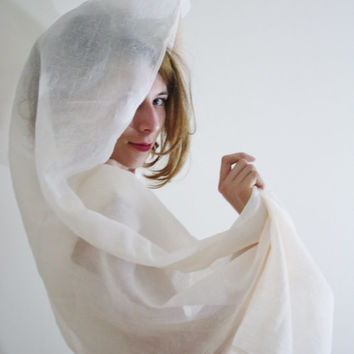 Light Cream White Shawl sheer white shawl light white bridal wrap organza summer scarf wedding wrap bridal shawl Pride and Prejudice LYDIA