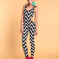 Chevron Cut-Out Jumpsuit