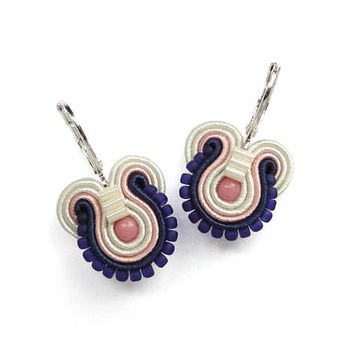 Coral and Navy Earrings Coral and Blue Earrings Coral and Navy Wedding Coral and Blue Wedding Soutache Earring Coral and Navy Jewelry