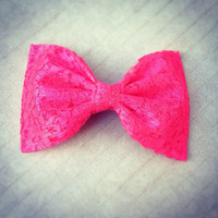 Hot Pink Lace hair fabric bow from Bowlicious Divas Bowtique