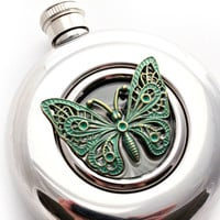 Butterfly Round Flask Blue Green Patina Vintage Inspired Window Stainless Steel Girlfriend Gift Flask