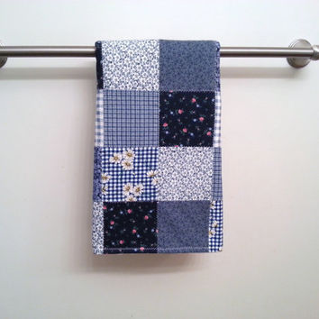 Blue Patchwork Bathroom Hand Towel / Country Home Decor / Bathroom Guest Towel / Thick and Plush Hand Towel
