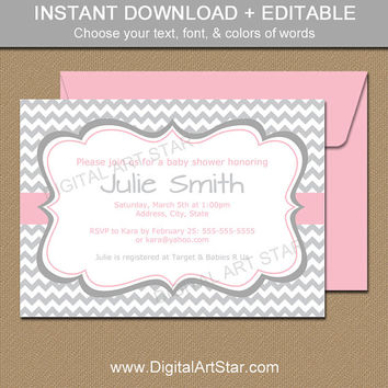 Pink and Gray Chevron Baby Shower Invitations - Printable Baby Shower Invitation Template for Baby Girl - EDITABLE Baby Shower Invites PGC