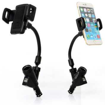 Car phone holder Stand USB Ports Car Charger Mount with Cigarette Lighter For iPhone 5 5s 6 6s Samsung Galaxy Note 5 S21
